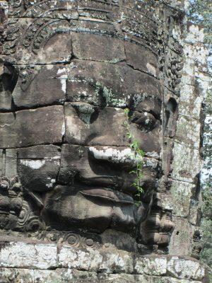 Одно из лиц храма Байон. Ангкор.